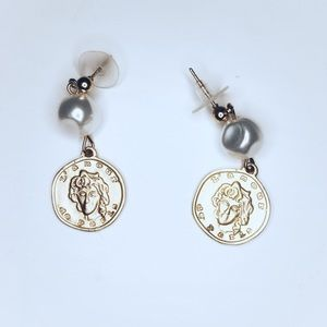 Zara coin conch dangle earrings